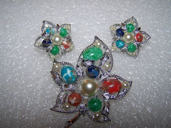 Sarah Coventry Rainbow Leaf Brooch and Earring Set