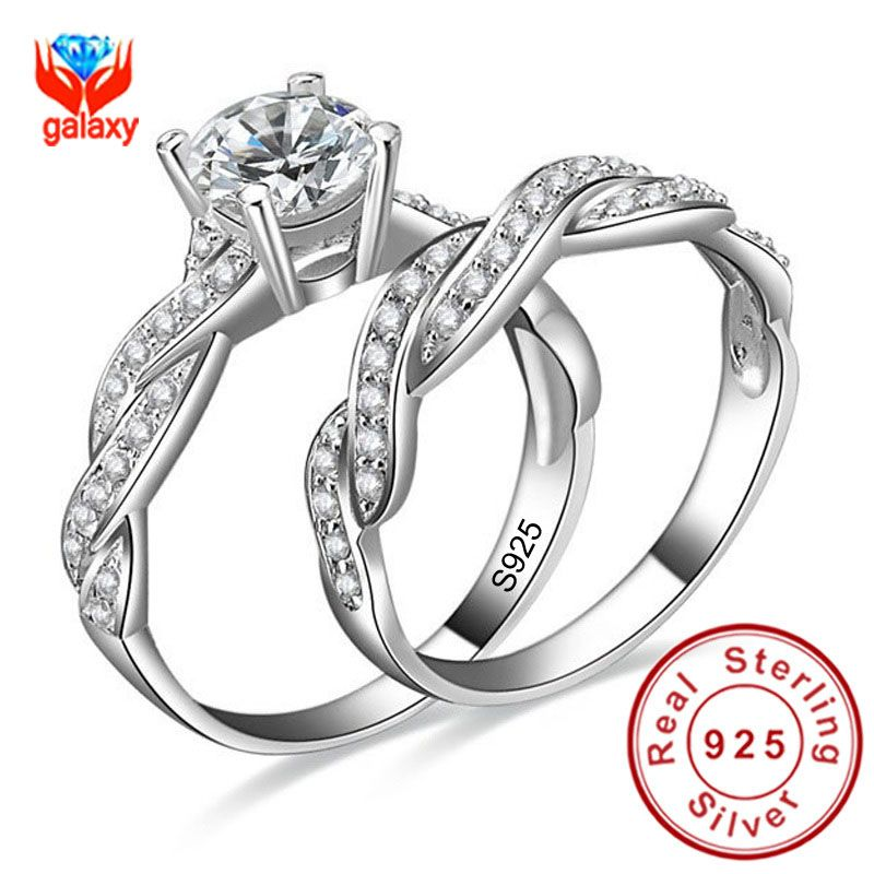 Infinity Love Simulated Diamond Engagement Wedding Ring Sets 925 Sterling Silver Sona Women Bridal