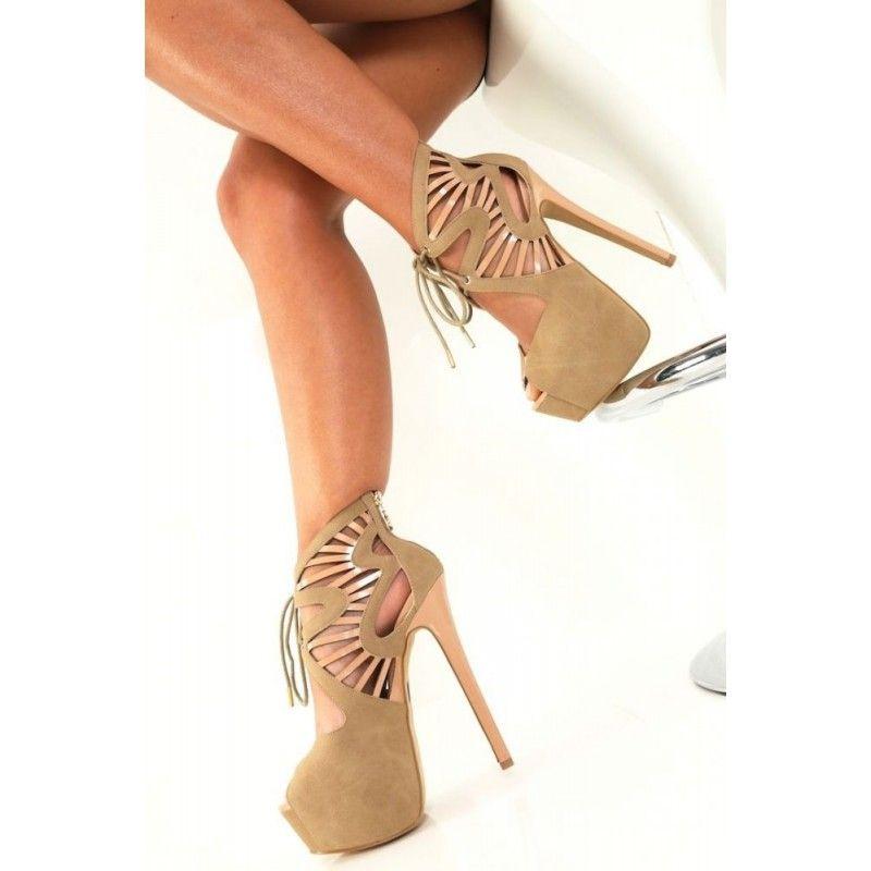 047c1bcfd722c Escarpin Ouvert Giaro Chic   Sexy Haut Talon Plateforme Design Zig Zag  Beige - Invidia-Chaussures