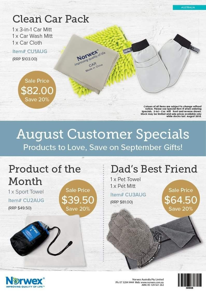 August 2018 Norwex Australia Customer Specials. www