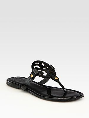 718c2503f Tory Burch Miller Patent Leather Logo Thong Sandals
