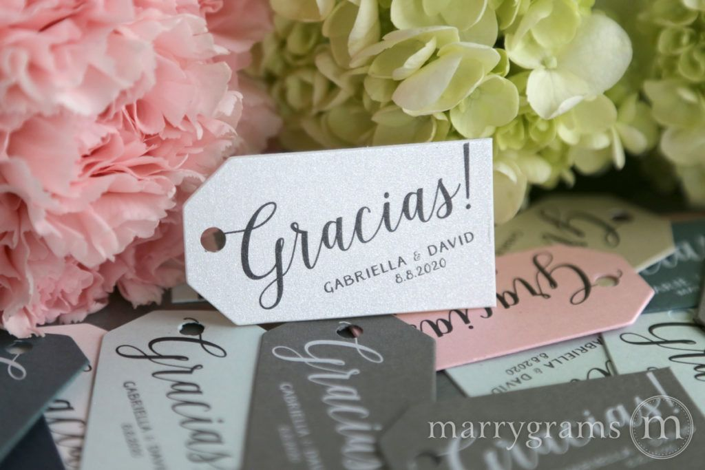 Custom Favor Tags By Marrygrams Perfect For Any Delicious Treat Trinket Or Kind Of Wedding Gracias Is The Spanish Word Thank You