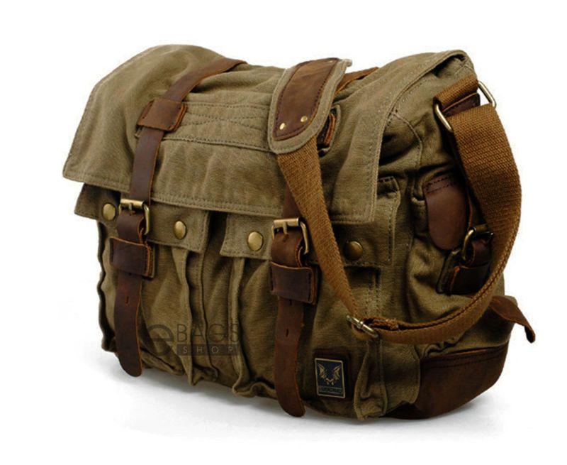 Men/'s Vintage Messenger Satchel Shoulder Military Bag Canvas School