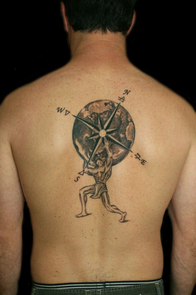Stunning compass rose tattoo Man carry the earth with the rose ...