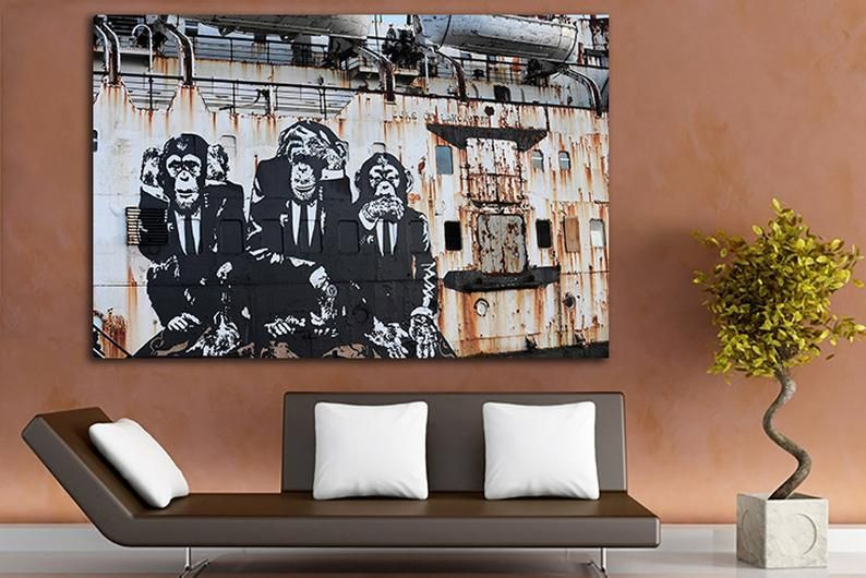 3 Wise Monkeys Wall Art Canvas Speak No Evil Hear No Evil See Etsy Monkey Wall Art Canvas Wall Art Banksy Mural