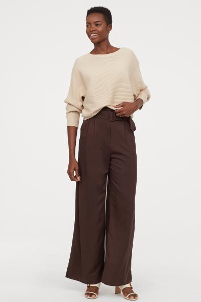 Photo of Wide-cut Paper-bag Pants – Brown – Ladies | H&M US