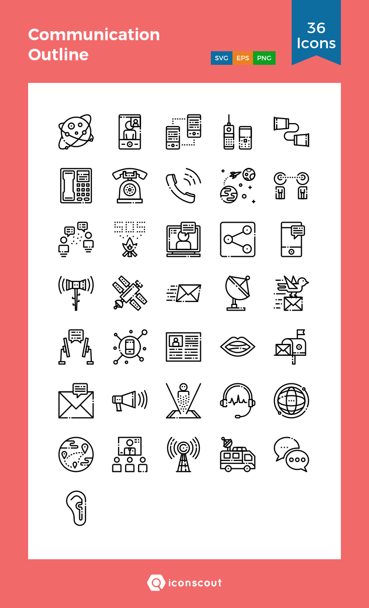 Download Communication Outline Icon pack Available in