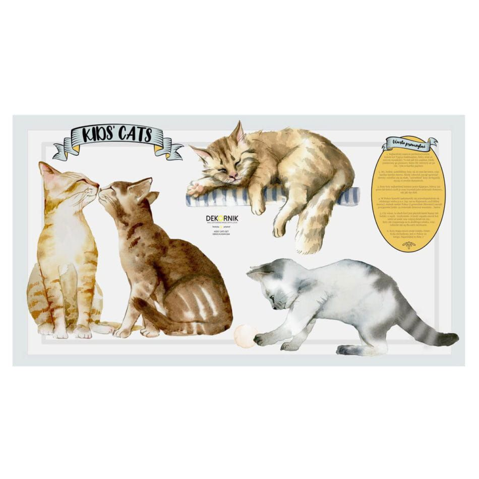 Dekornik Zestaw Naklejek Koty I Kotki Cats Animals Fox