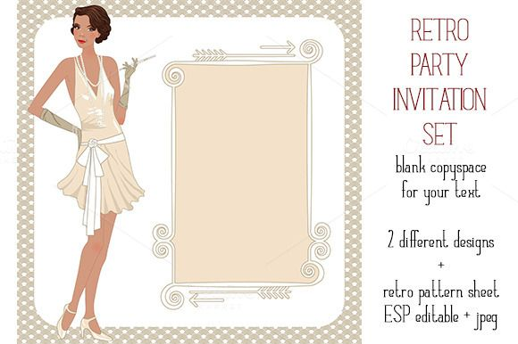 Check out Retro party invitation set by Digital art shop on Creative Market