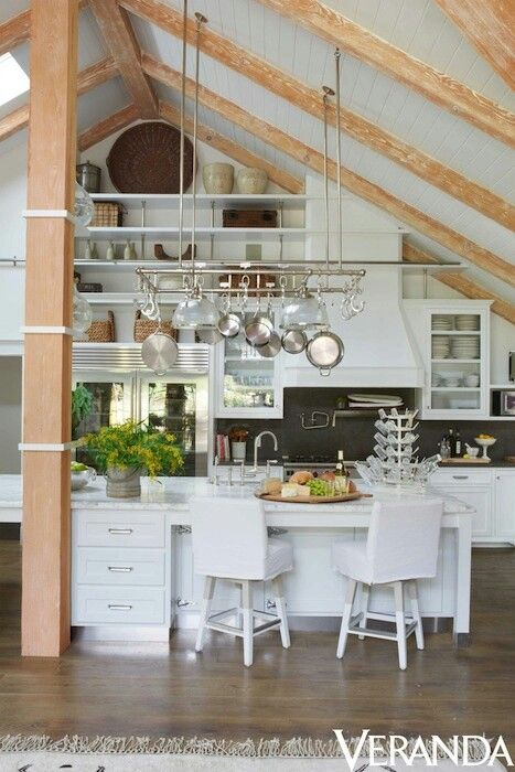 White Kitchen Vaulted Ceiling kitchen/vaulted ceiling little too white overall, chairs, etc