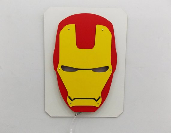 Iron Man Mask Light Night Superhero Wall Led Decor