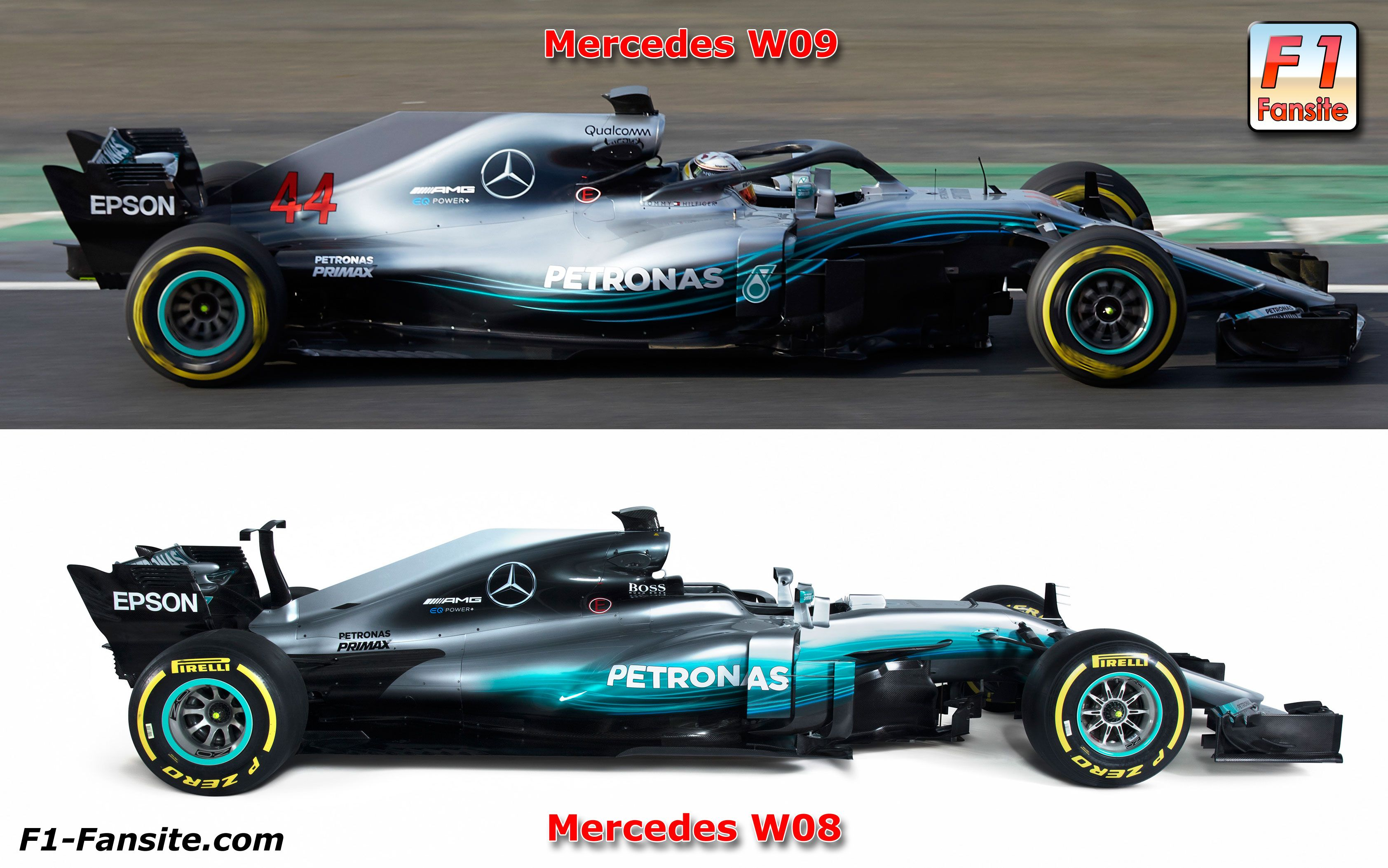 mercedes w08 vs mercedes w09 side view 2018 f1 launch pictures pinterest f1 amg petronas. Black Bedroom Furniture Sets. Home Design Ideas