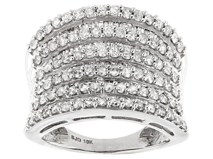 White Diamond 10k White Gold Multi Row Cocktail Ring 2 10ctw In 2020 Cocktail Rings White Gold Diamond Gemstone