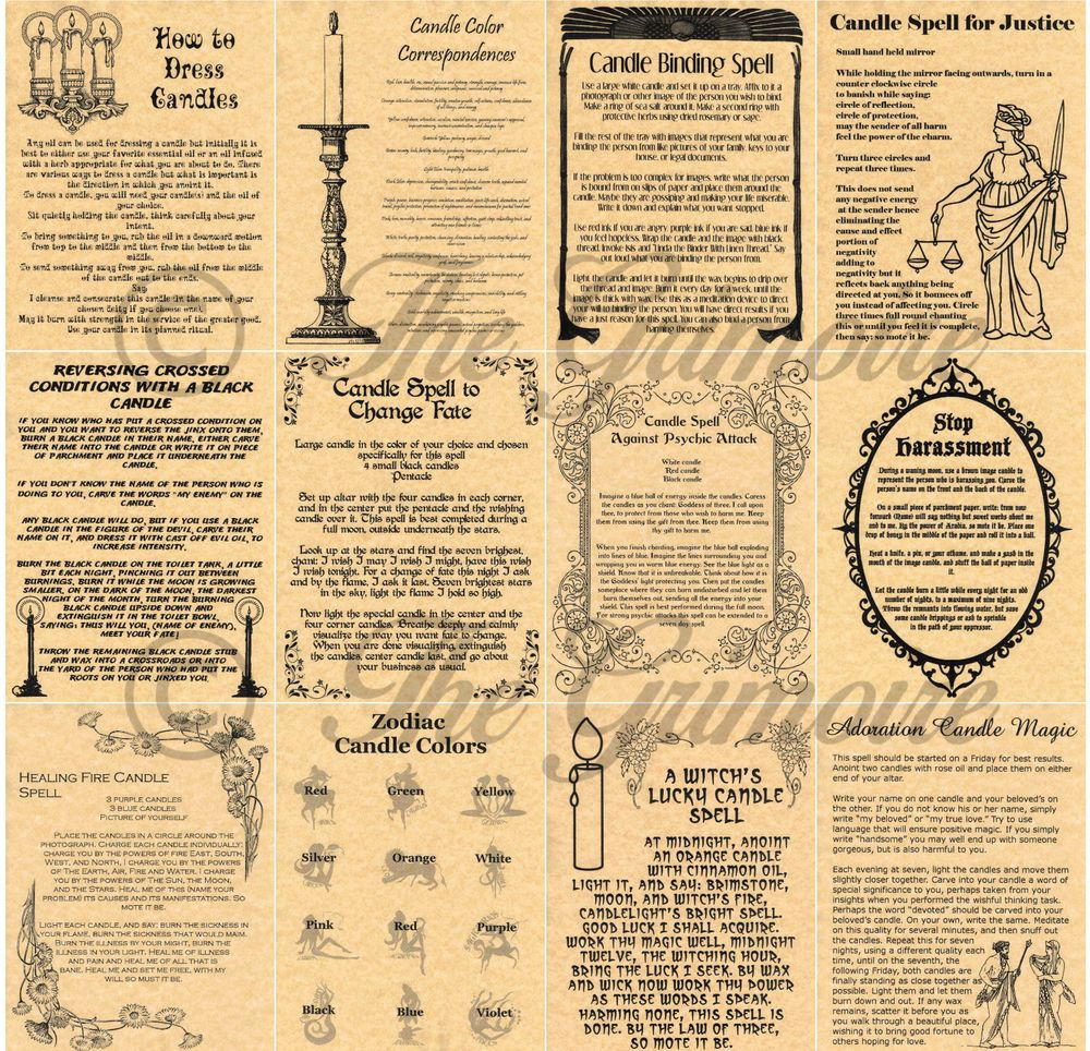 Details about Candle Magic Spells Book of Shadows Pages