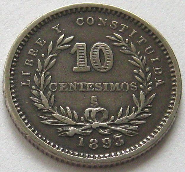 Uruguay, Silver Coin, 10 Centesimos 1893 / 77 So, Rare