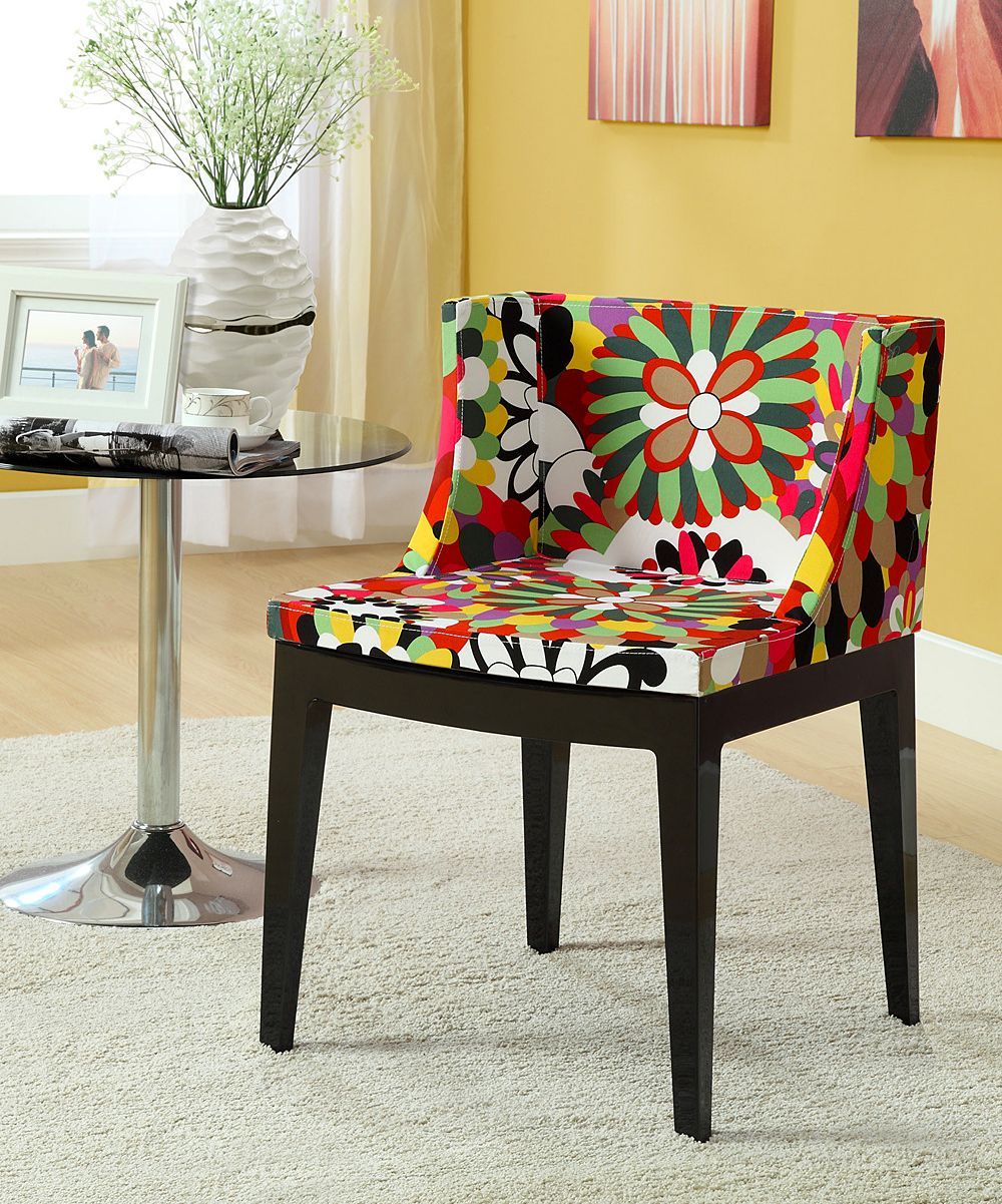 Mod Black Floral Accent Chair | Side chairs dining, Modern ...
