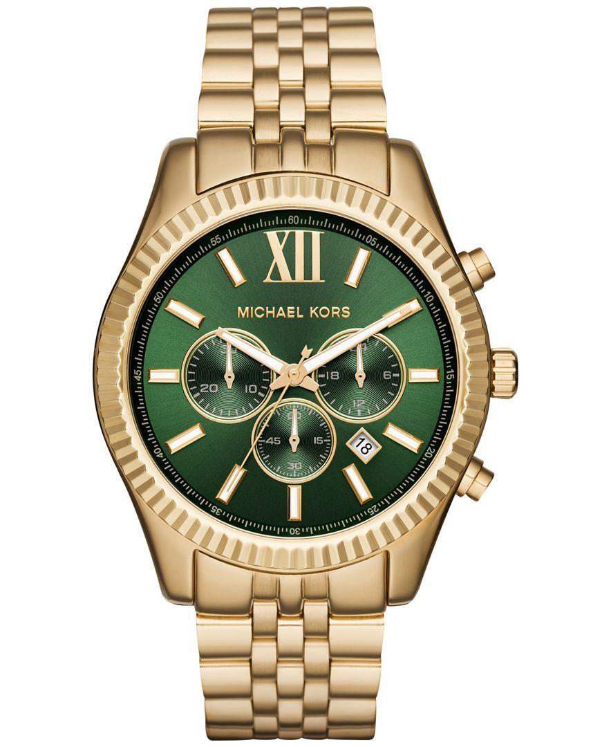 829af7560013 Michael Kors Men s Chronograph Lexington Gold-Tone Stainless Steel Bracelet  Watch 44mm MK8446