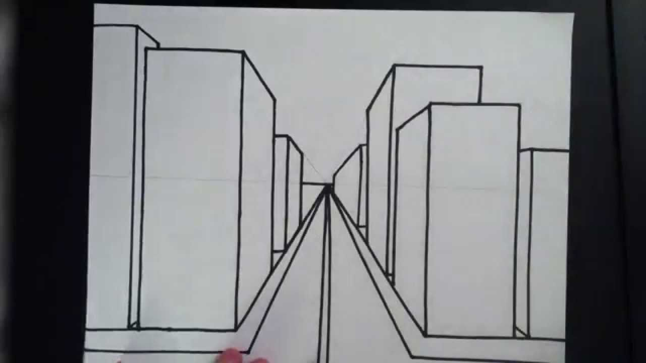 How To Draw A 3d City 3rd Grade Project One Point Perspective Perspective Art Easy Drawings
