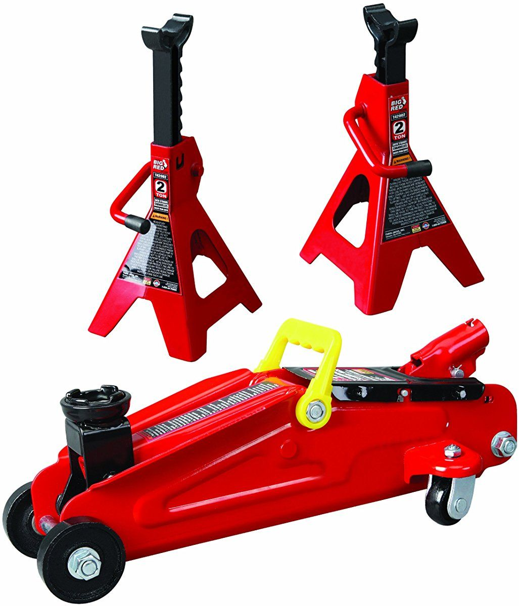 Torin Big Red Hydraulic Trolley Floor Jack Combo With 2 Jack Stands 2 Ton Capacity Jack Stands Floor Jack Car Jack