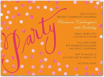 Adult Birthday Party Invitations Confetti Shimmer Front Pumpkin