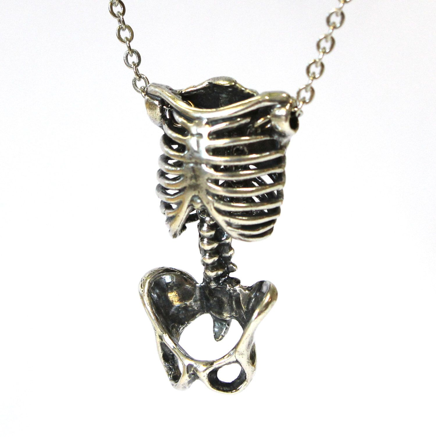 Pin by v on gothabilly goth pinup vintage pinterest rib cage skeleton torso necklace silver anatomical human skeleton pendant necklace pelvis rib cage 083 037 aloadofball Image collections