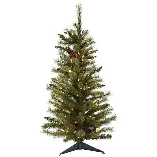 Nearly Natural 5441 Christmas Tree With Pine Cones And Clear Lights 3 Feet Green The Li 3ft Christmas Tree Pine Cone Christmas Tree Pre Lit Christmas Tree