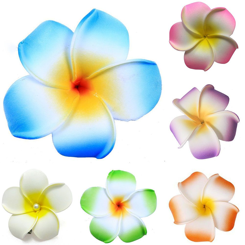 3 Pcs Fashion Hawaiian White Plumeria Flower Foam Hair Clip Balaclavas