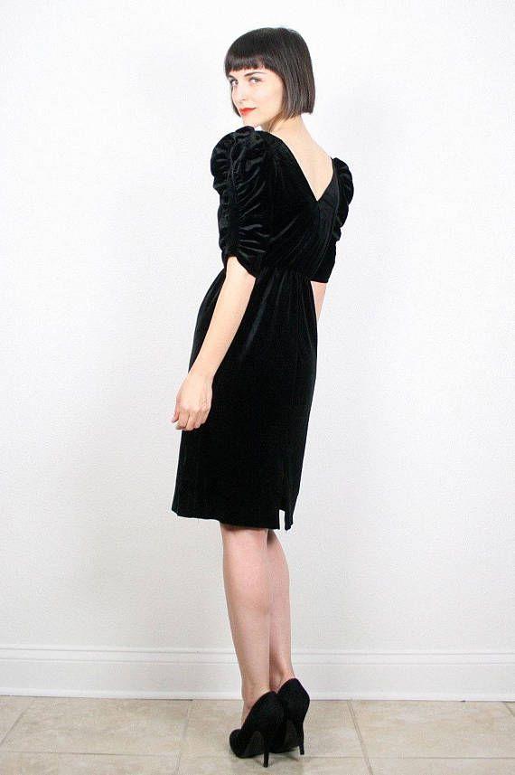 Vintage schwarzes Kleid Midikleid Samtkleid Velourkleid ...