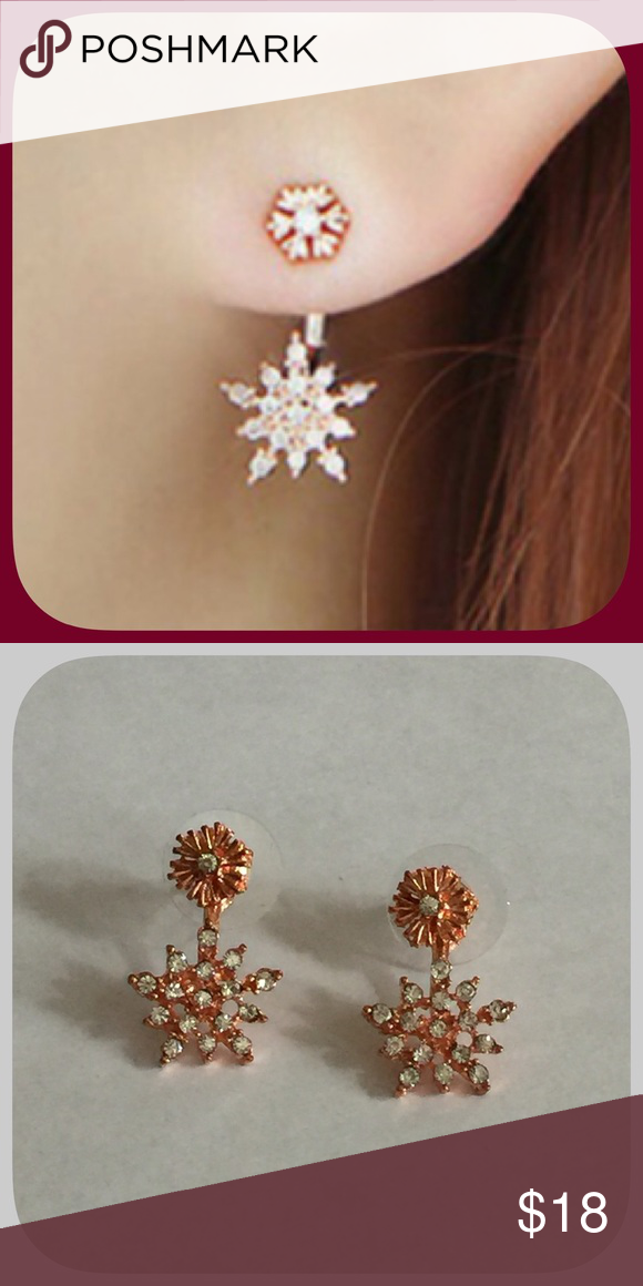NWT Lovely Rose Gold Snowflake Rhinestone Earrings Boutique ... 6d14fe7801cc