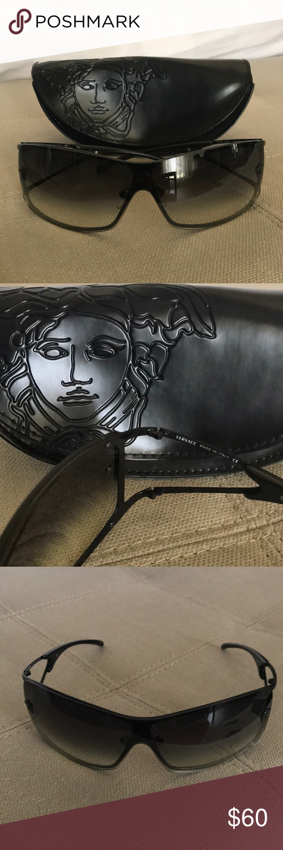 211424b601f3b Versace sunglasses mod. 2048 1009 8G Versace sunglasses in black are new! I  think I used them twice because they were a gift. No scratches or damage l  still ...