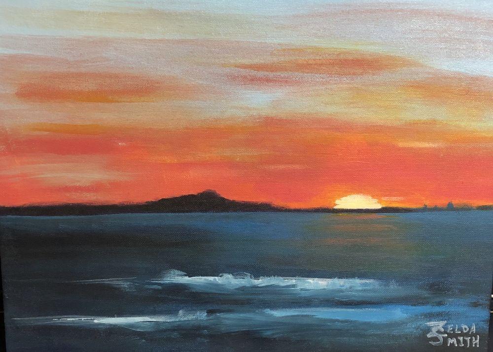 Dark Ocean Island Sunset Original Acrylic Painting On Canvas Board