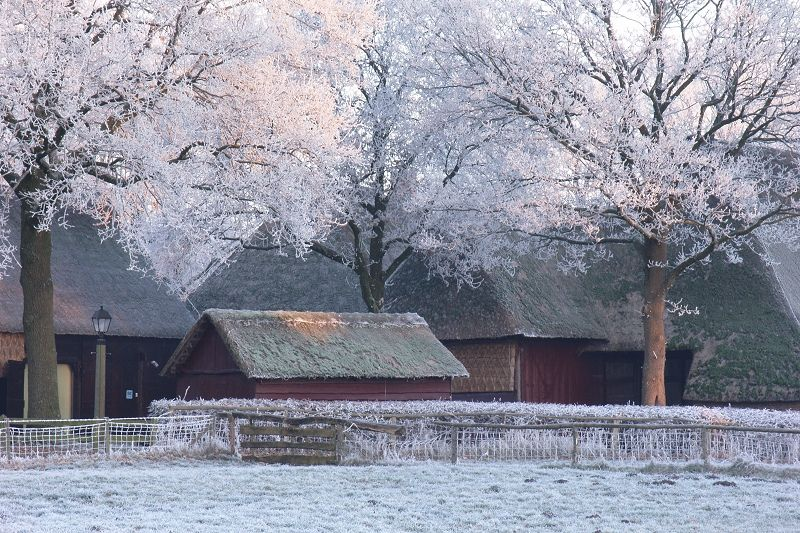 Winter - old farm at museum village 'Orvelte'.