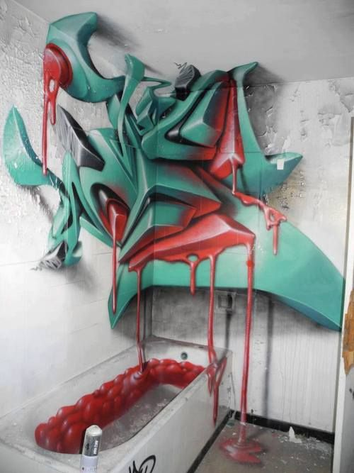 Impressive anamorphic graffiti by Sweo from France.
