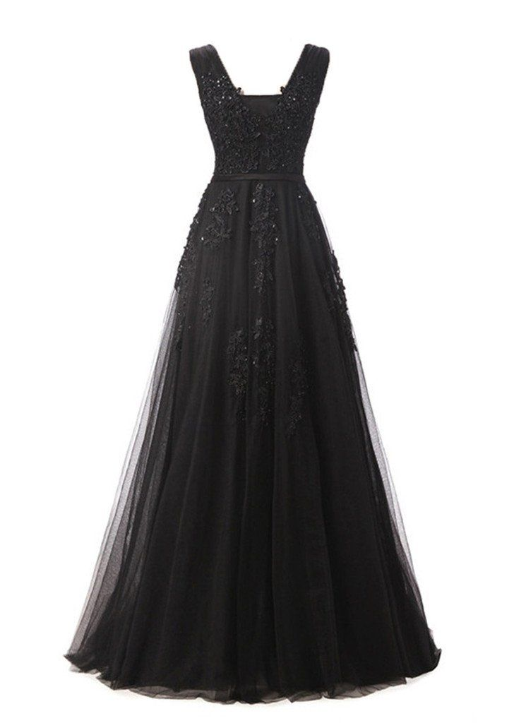 Eudolah Damen Abendkleid A-Linie langes Tuell Ballkleid Brautjungfer ...