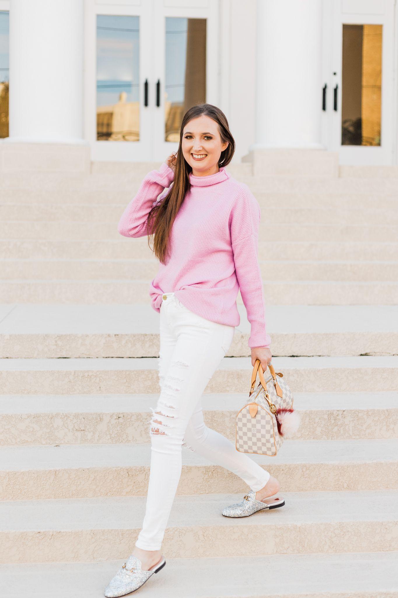 b78839ec8ae Pink oversized sweater style inspiration
