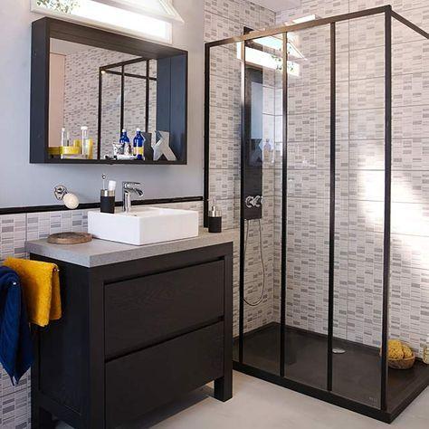 paroi de douche fixe 120 cm noir zenne castorama. Black Bedroom Furniture Sets. Home Design Ideas
