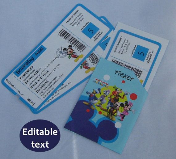 INSTANT Download EDITABLE PDF Mickey Mouse Clubhouse Boarding Pass