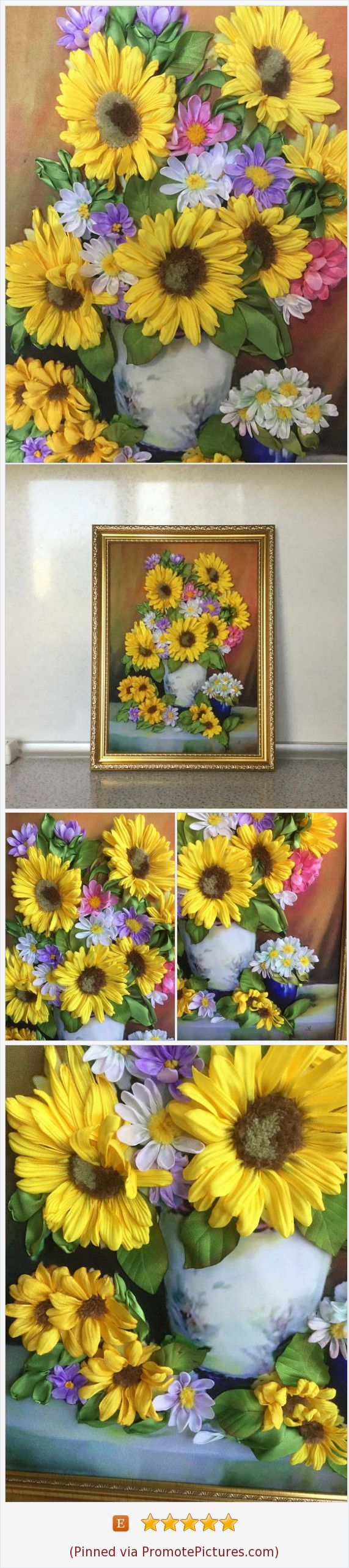 Luxury paintings for home Bright pictures with flowers 3d embroidery ...