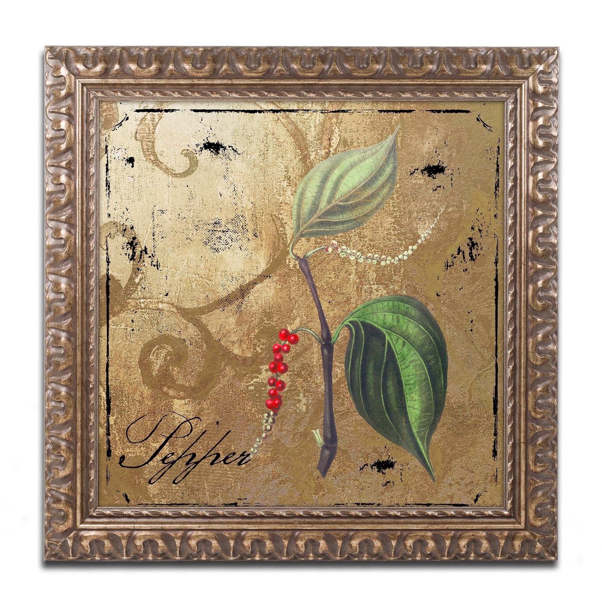Color bakery ublack gold herbs iiiu ornate framed art products