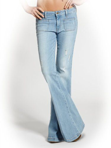 GUESS Women's 70s Mid-Rise Flare Jeans in Otis Wash