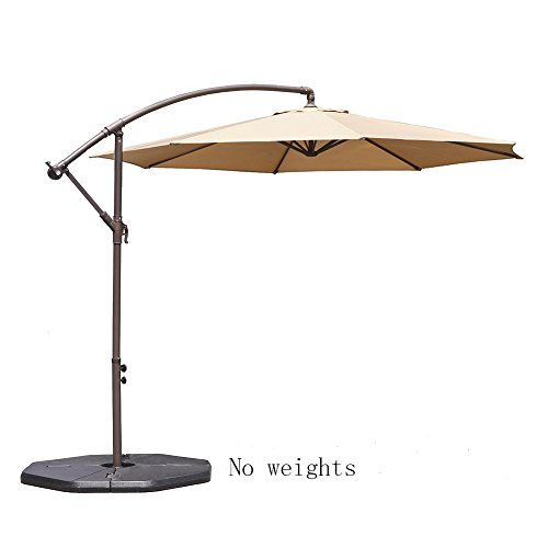 Le Papillon 10 Ft Offset Hanging Patio Umbrella Aluminum Outdoor Cantilever  Umbrella Crank Lift,