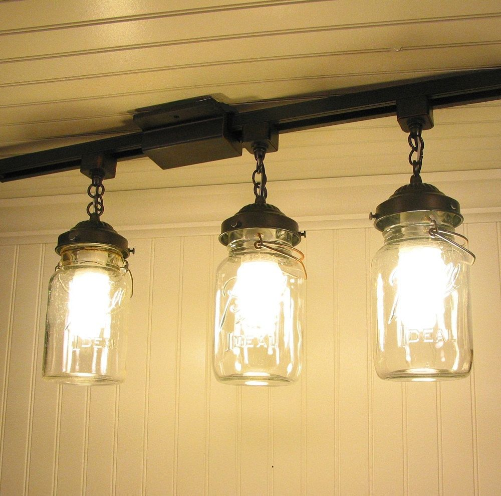 Mason Jar Track Lighting With Vintage