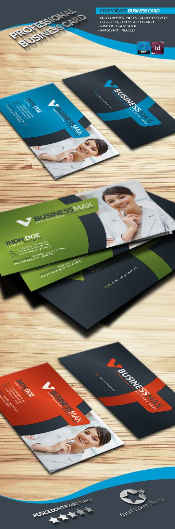InDesign PremiumBusiness Card Template | Business Card | Pinterest