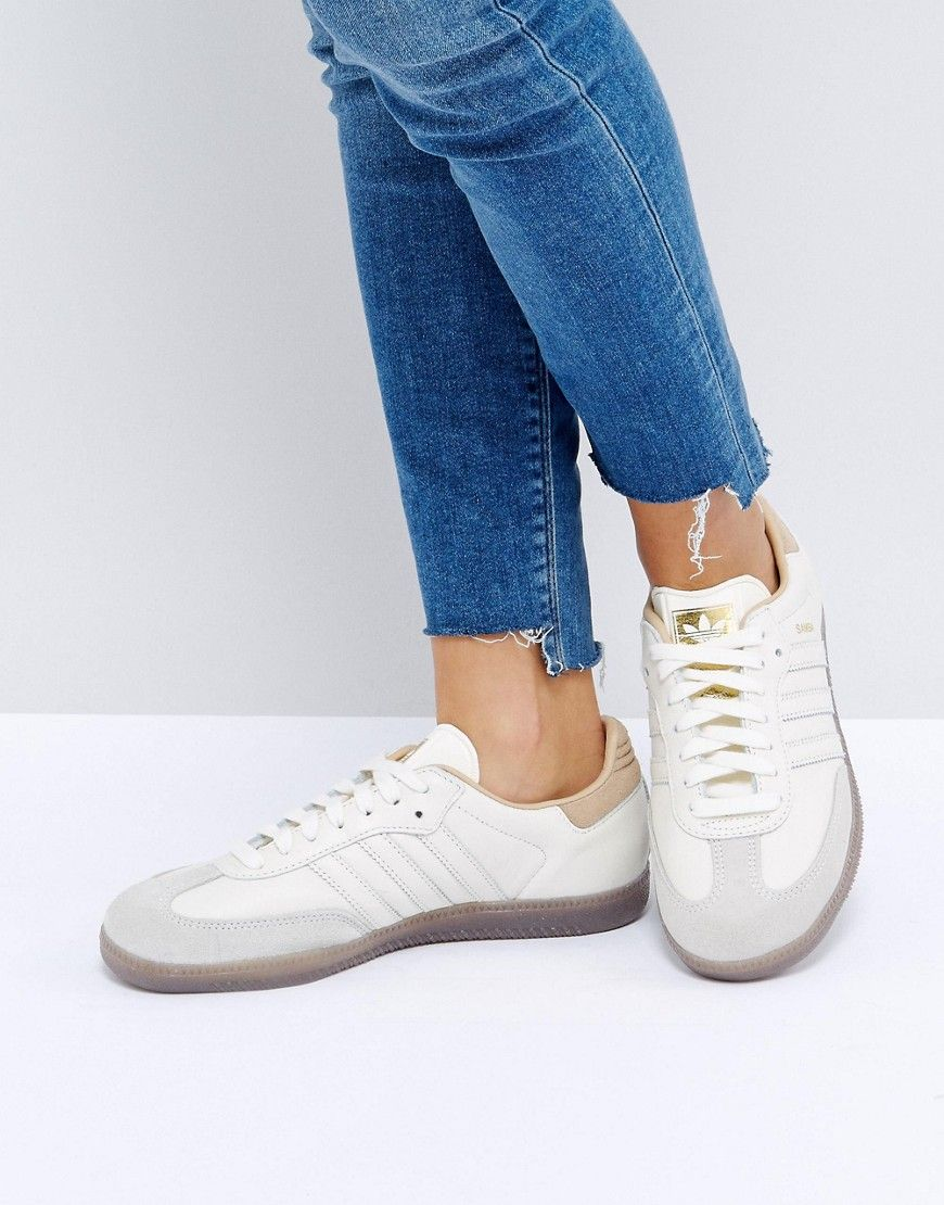 Shop adidas Originals Samba Trainers In Off White at ASOS.