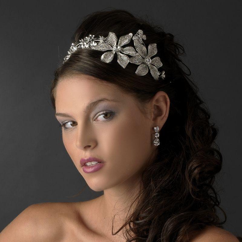 Vintage Silver Royal Crystal Bridal Headpiece Side Accent Headband Prom Tiara