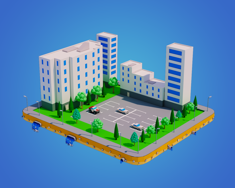 Low Poly City Block With Cinema And Building Download 3d Model Low Poly Lab