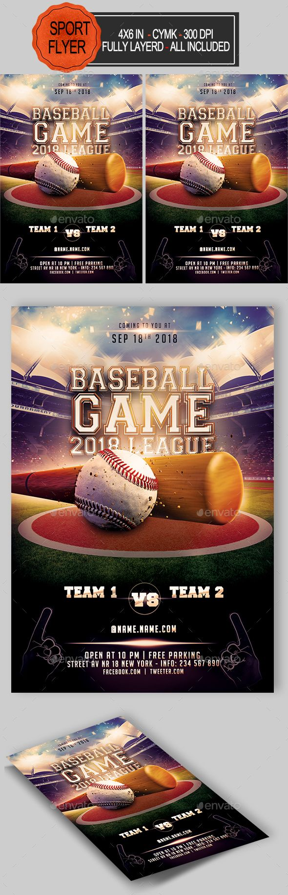Baseball Flyer  Flyer Template Fonts And Font Logo