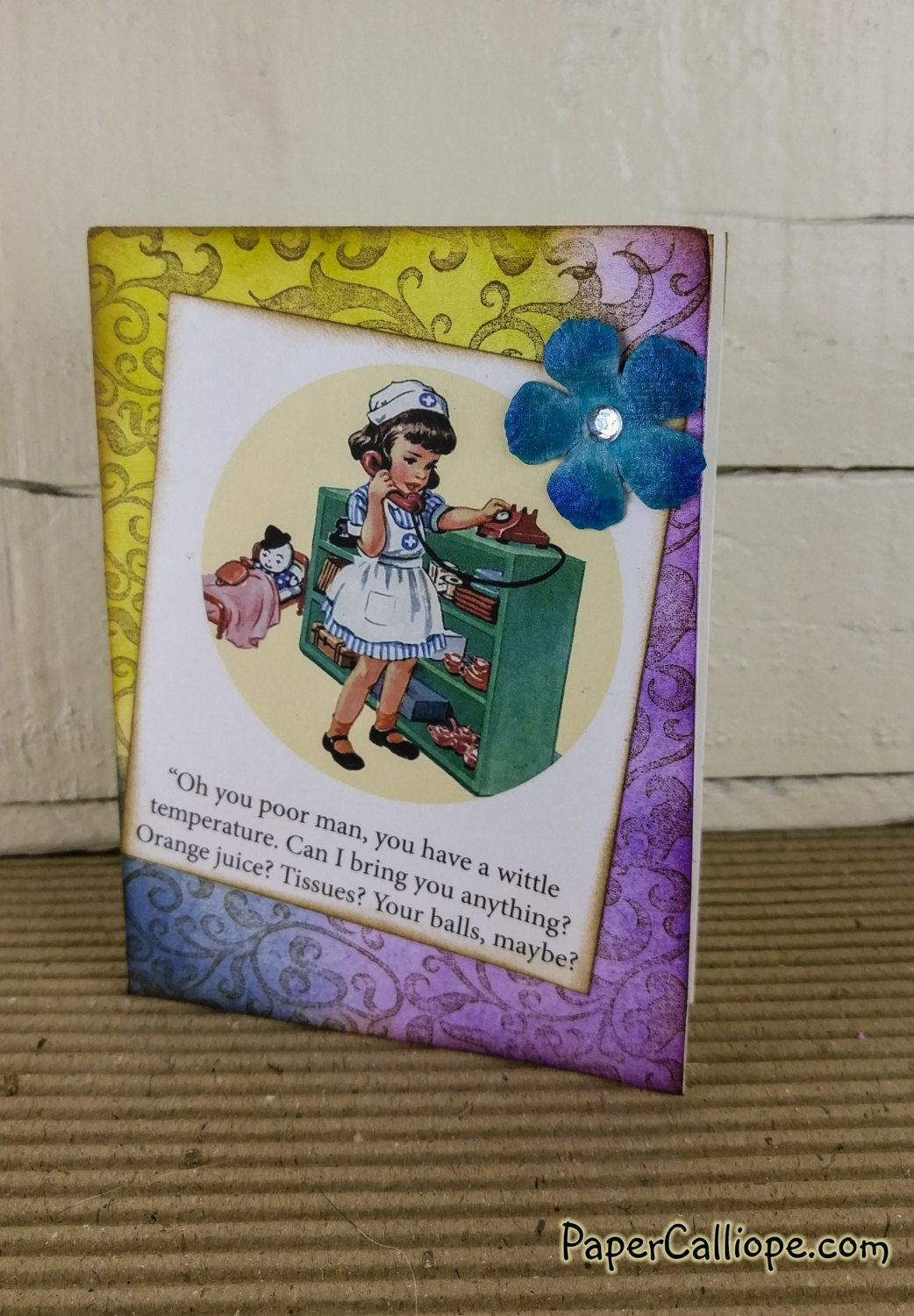 W16 20 Snarky Greeting Card Sick Man By Papercalliope On Etsy