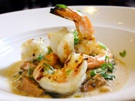 Photo of Sixth Engine's Grilled Shrimp With Tasso Ham, Black Eyed Peas, and Sherry Butter Sauce