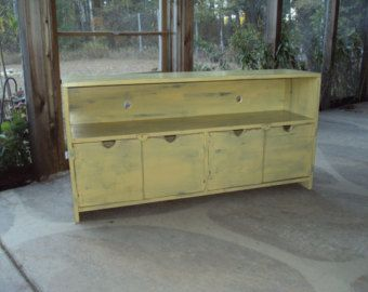 "Primitive storage bench | Reclaimed wood TV Stand TV Cabinet Storage Bench 48"" wide Shabby Chic ..."